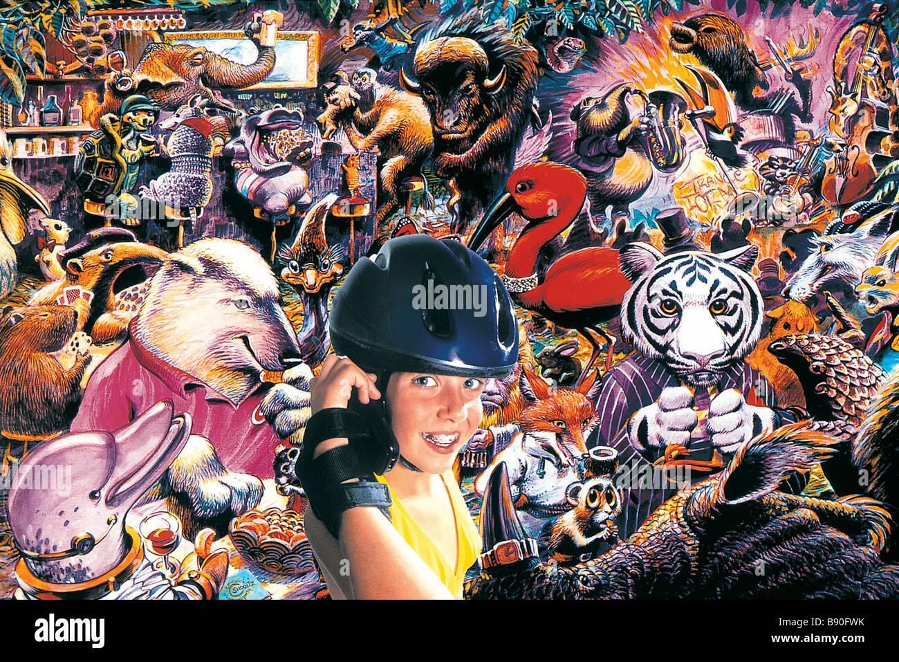 FL2801, BRIAN MILNE; Girl wearing helmet animal collage BG - Stock Image