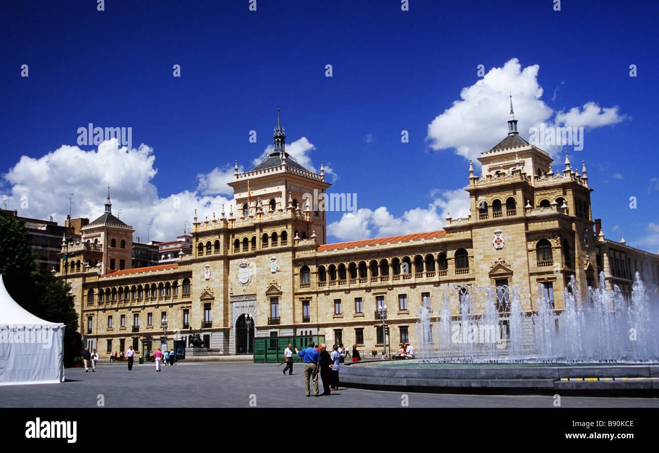 The Academia de Caballeria or Calvary Academy is a popular landmark on the Plaza Zorrilla in Valladolid Spain - Stock Image