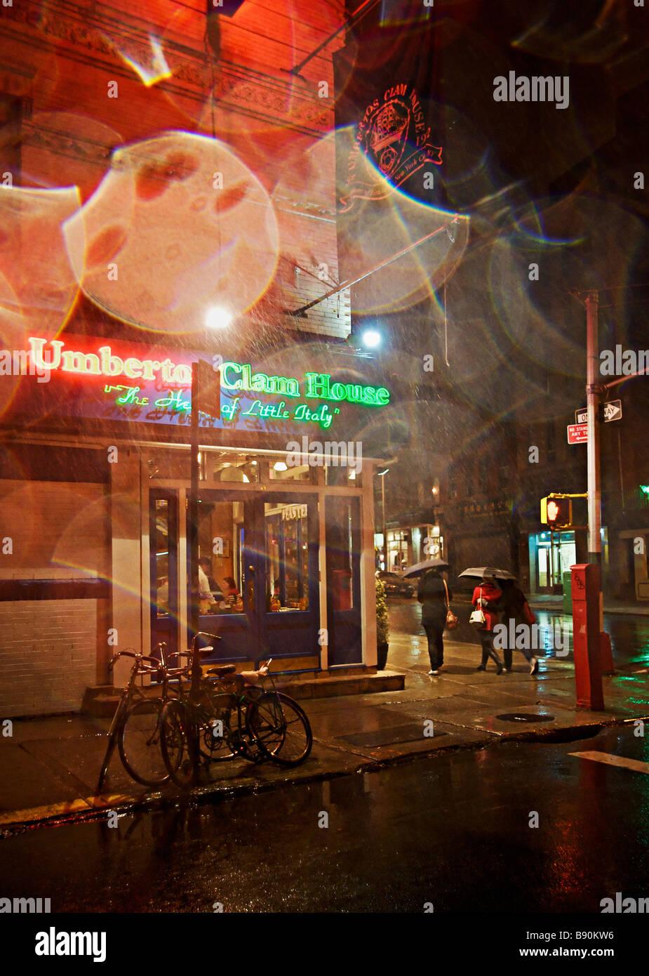 Italian restaurant at night Mulberry Street Little Italy SoHo NYC USA - Stock Image