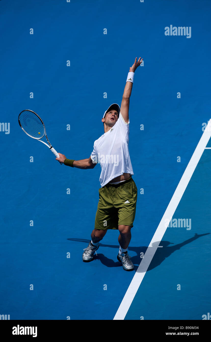 Adidas' tennis player Novak Djokovic of Serbia during the Australian Open Grand Slam 2009 in Melbourne - Stock Image