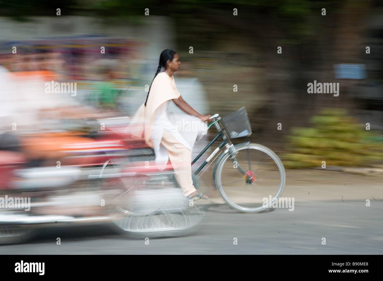 indian girl bicycle - Stock Image