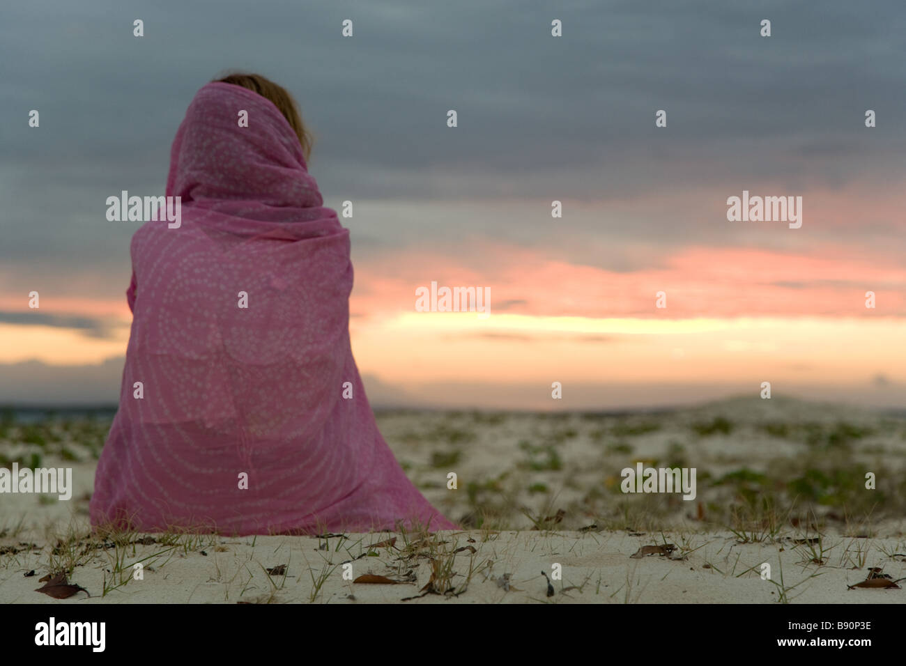 Nomad on desert - Stock Image