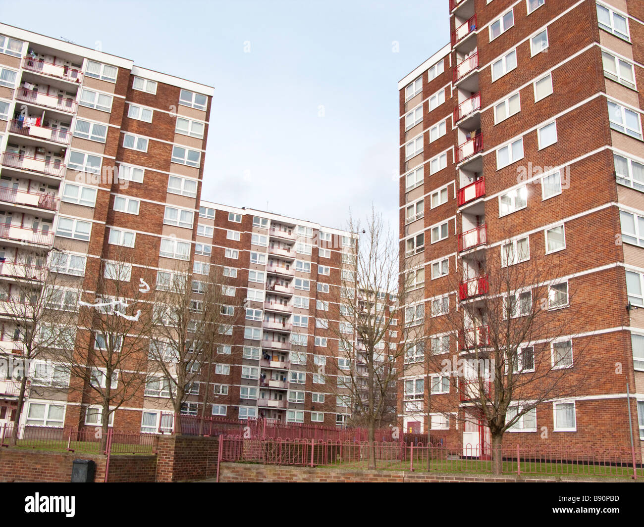 high rise tower blocks on an inner city estate in liverpool stock