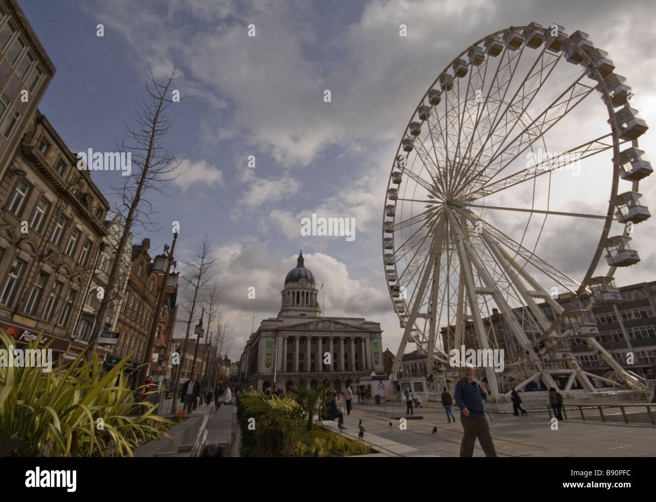 Nottingham Main Market Square and Big Wheel - Stock Image