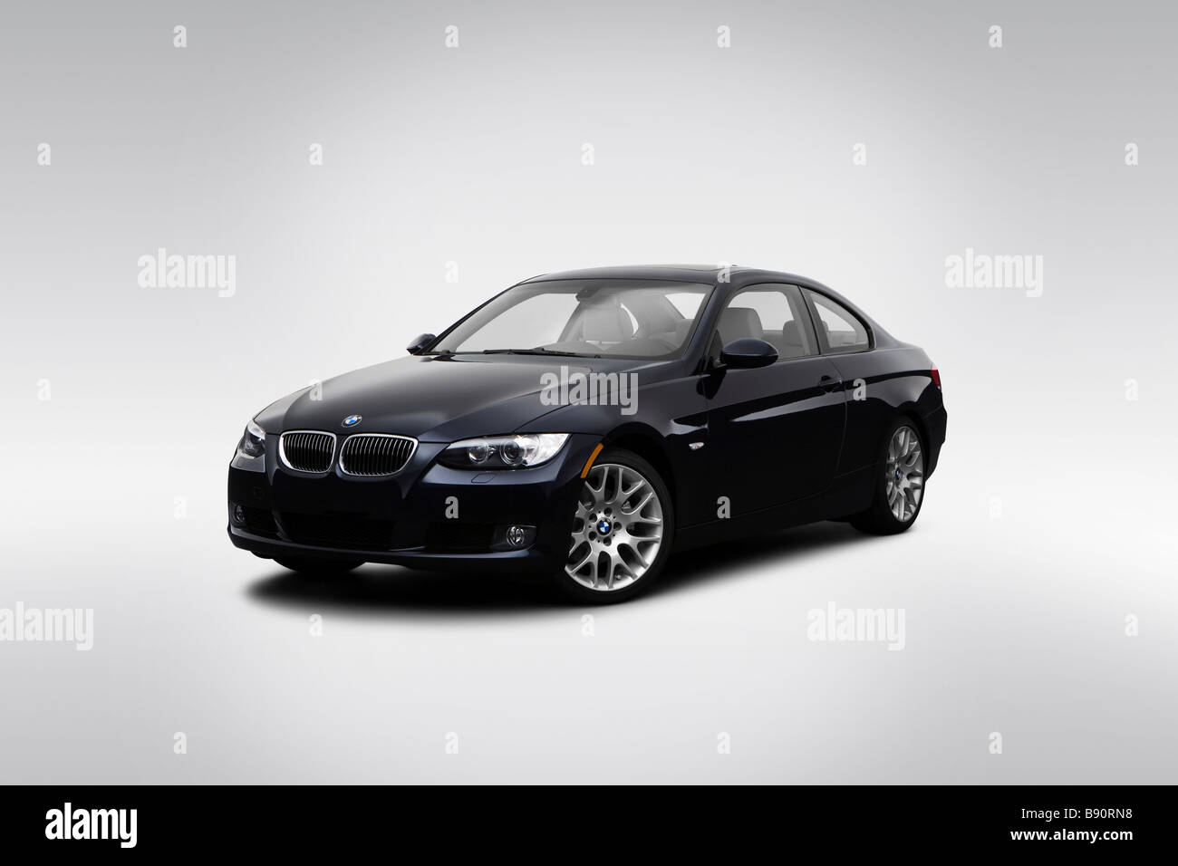 2009 Bmw 3 Series 328i In Blue Front Angle View Stock Photo