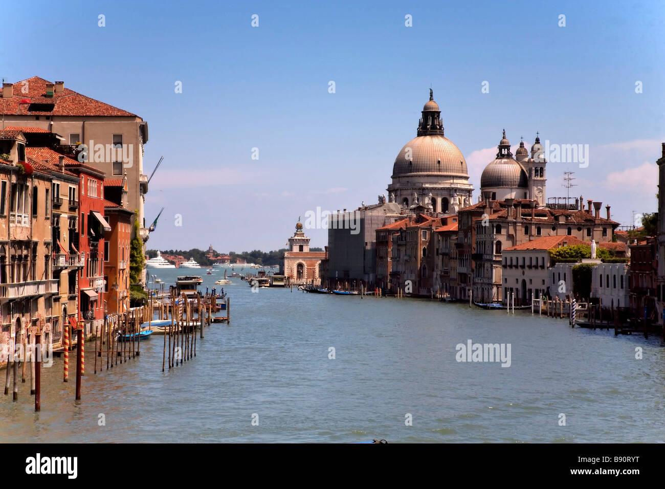 Grand Canal Venice, from Ponte dell Academia, with Basilica di Santa Maria della Salute in the background. - Stock Image