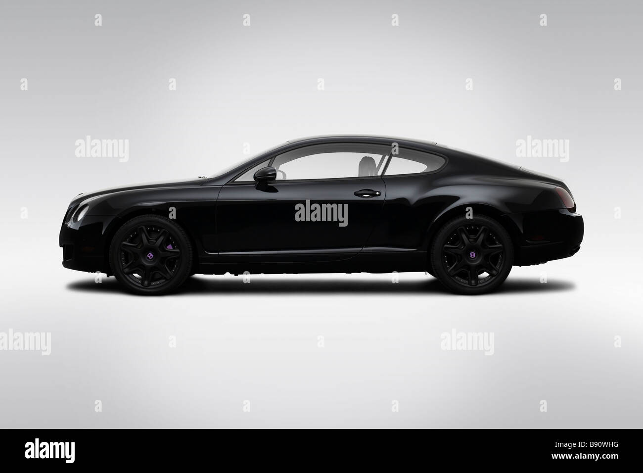 2009 Bentley Continental GT in Black - Drivers Side Profile - Stock Image
