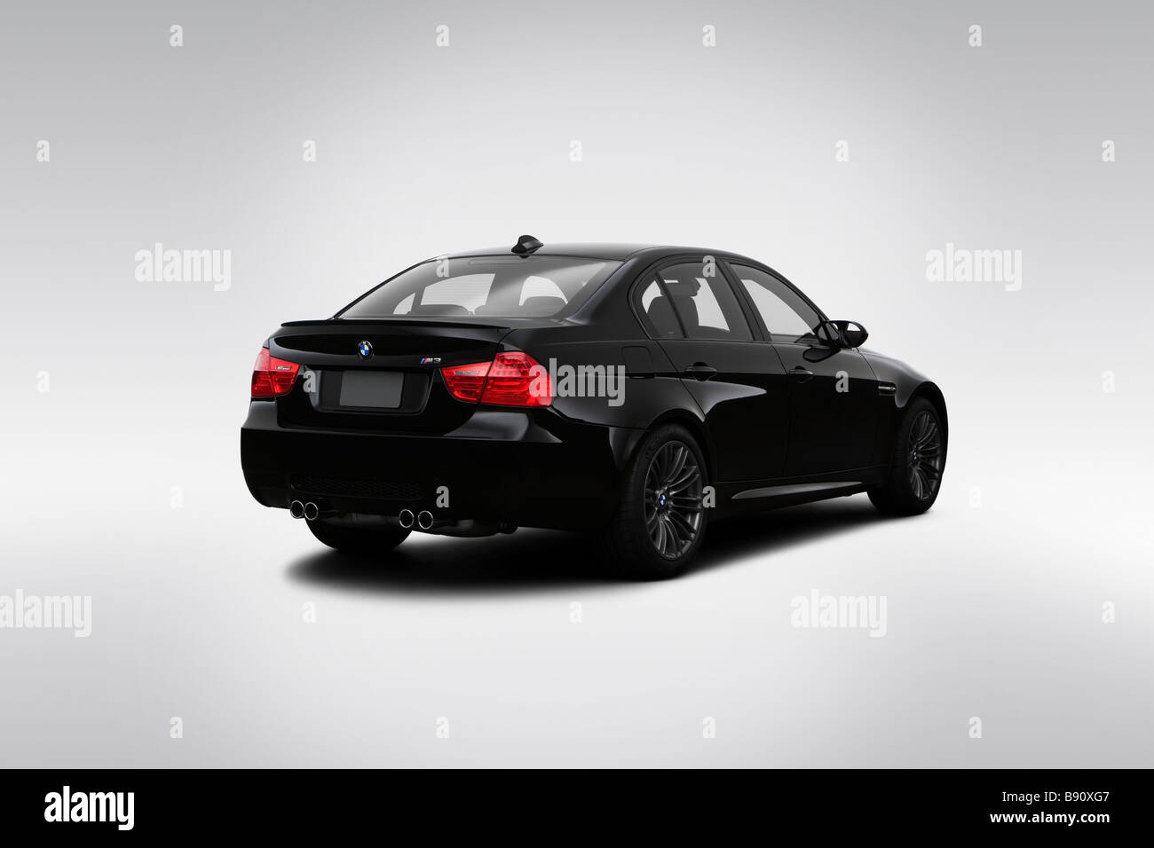 2009 BMW 3 Series M3 In Black   Rear Angle View   Stock Image