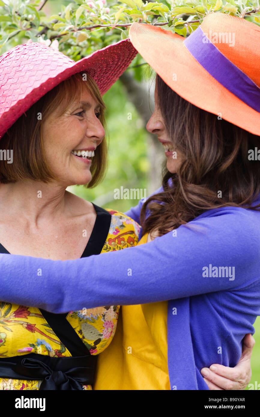 Two women hugging Sweden. Stock Photo