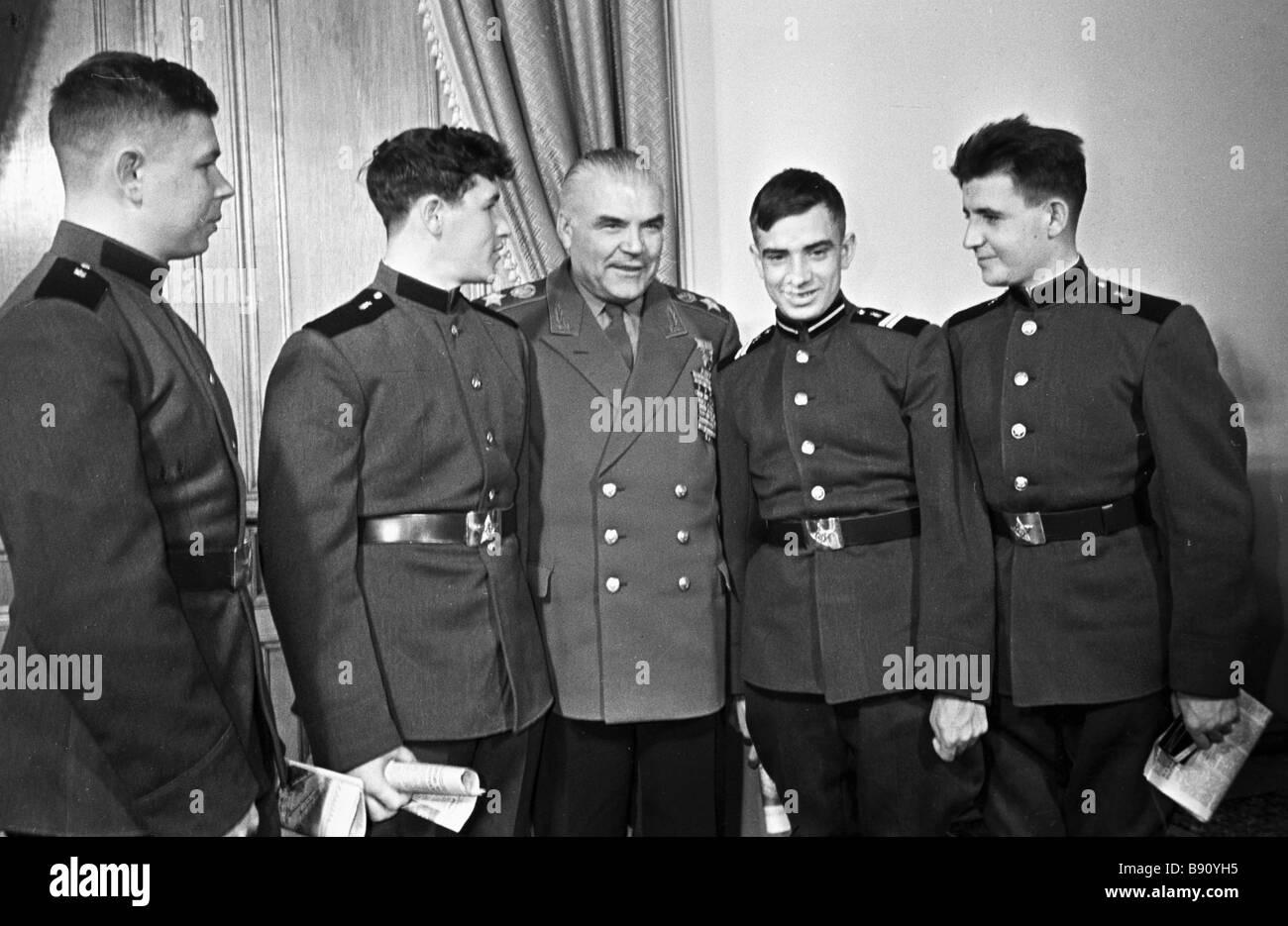 Soviet Minister of Defense Marshal Rodion Malinovsky center ...