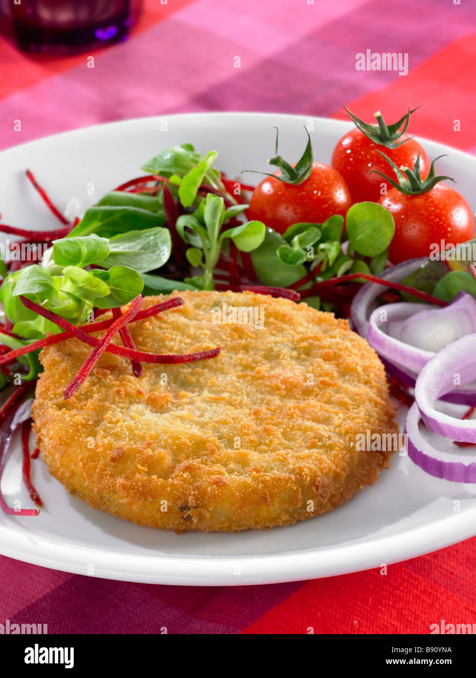 breaded burger Stock Photo