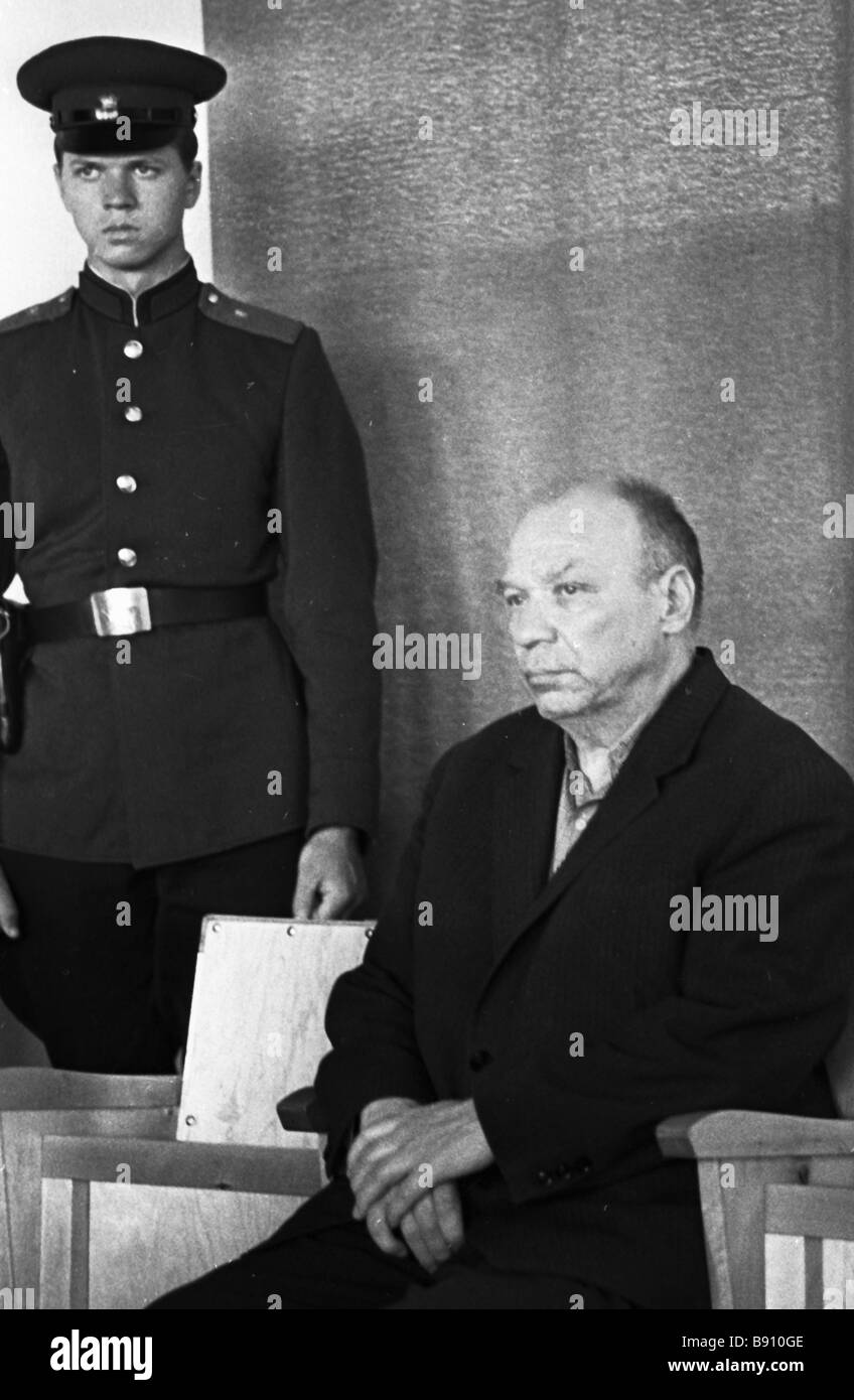 The defendant Roland Ranod at the trial of Nazi accomplices in Tallinn during the Great Patriotic War - Stock Image