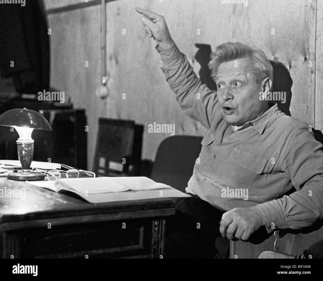 Puppet master Sergei Obraztsov People s Artist of the USSR during a rehearsal - Stock Image