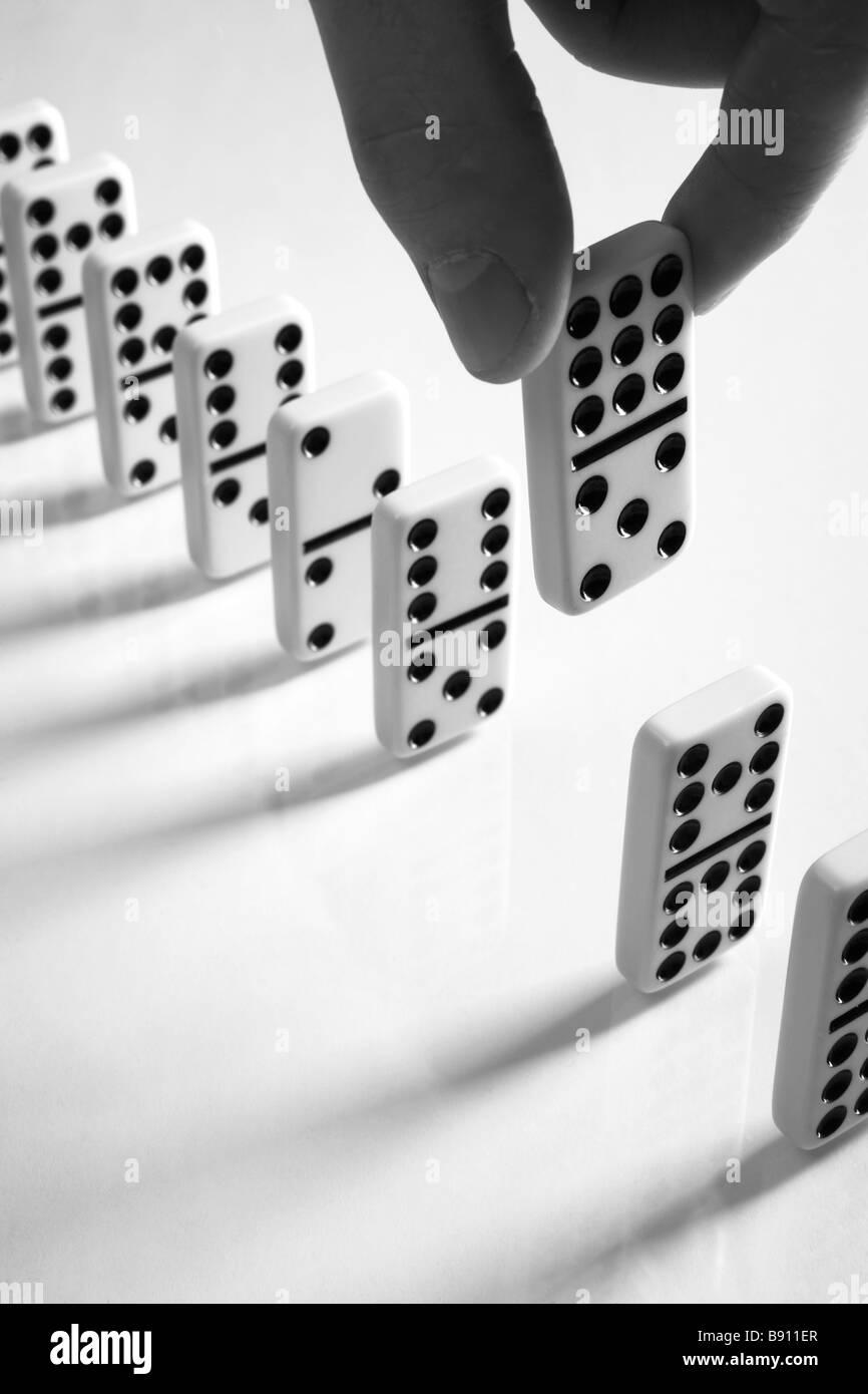 Row of Domino Tiles. - Stock Image