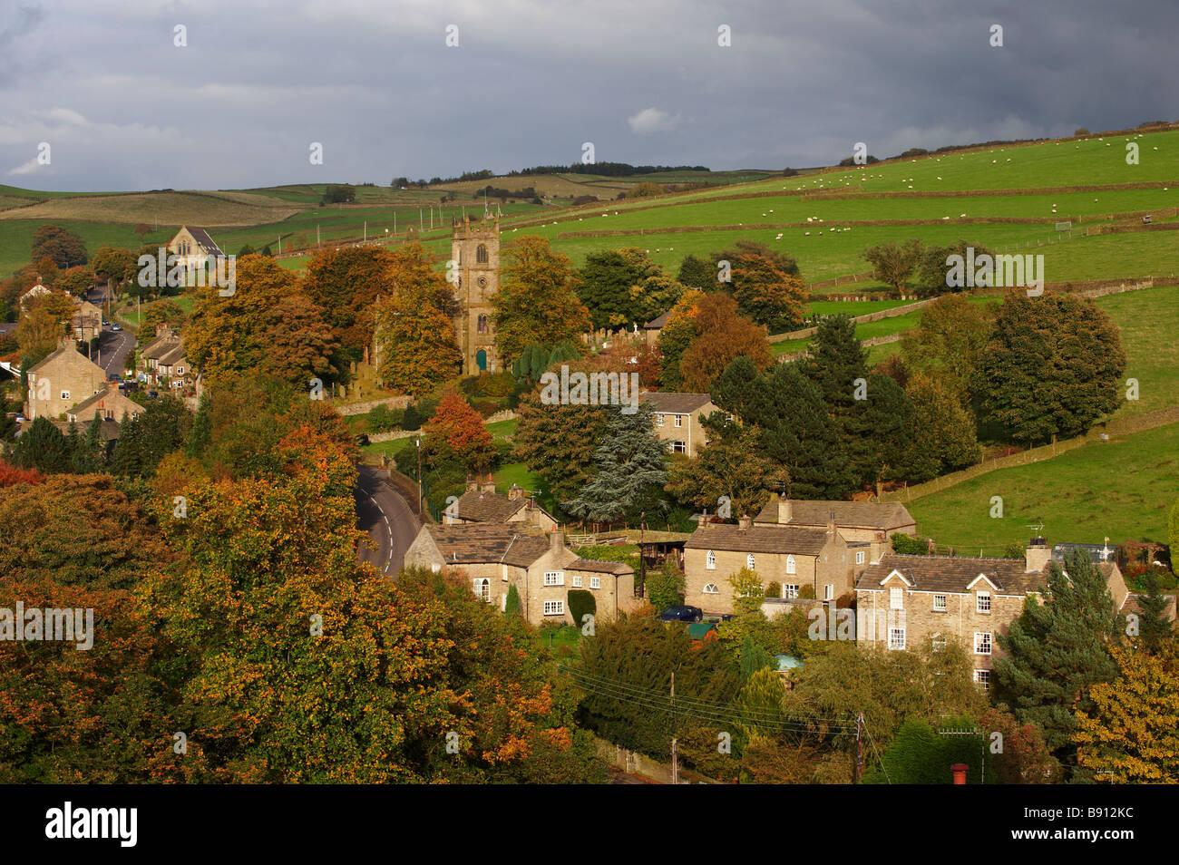 Rainow Village In Autumn Nr Macclesfield Cheshire UK - Stock Image