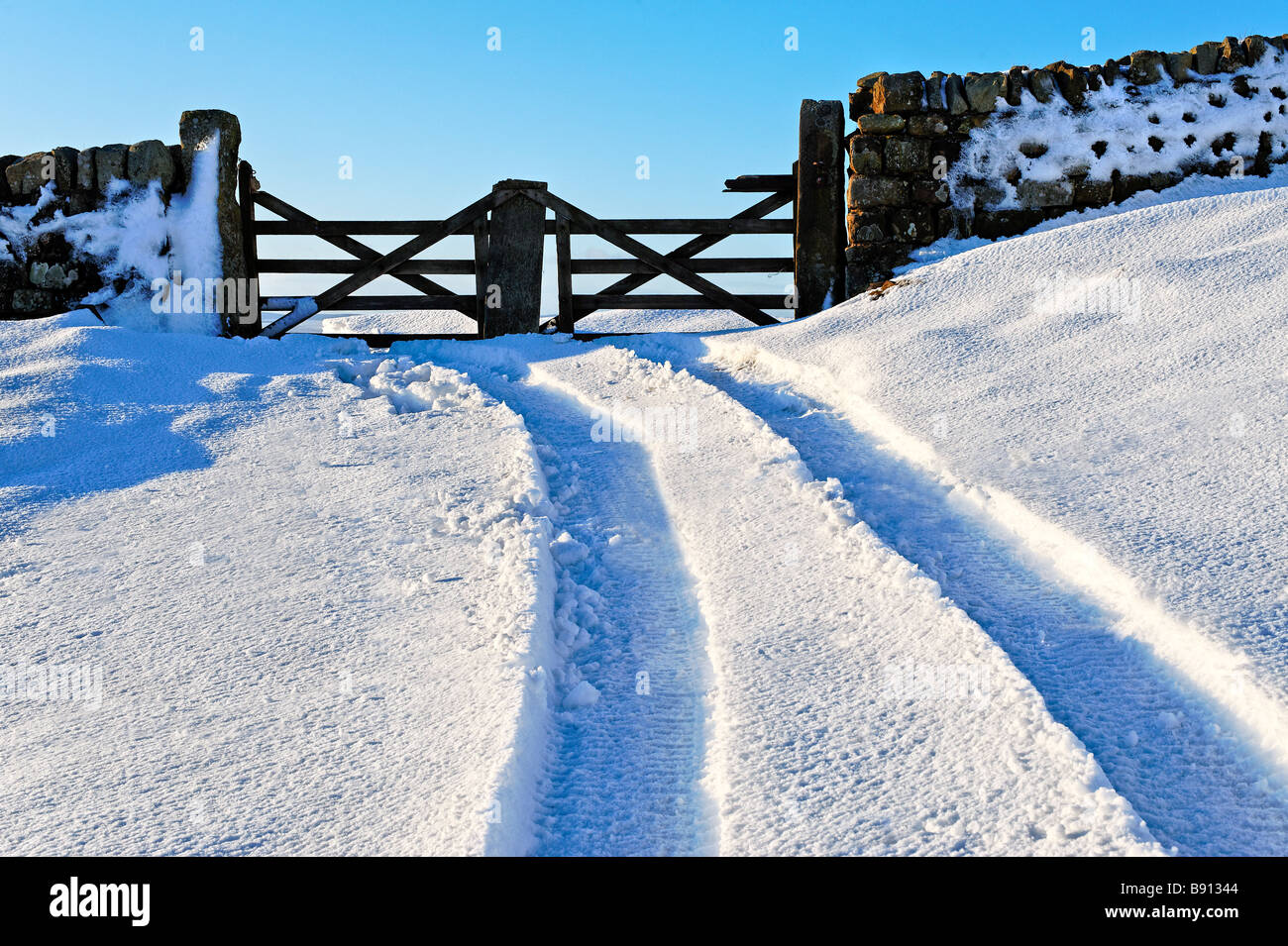 Tracks in deep snow leading to a gate - Stock Image
