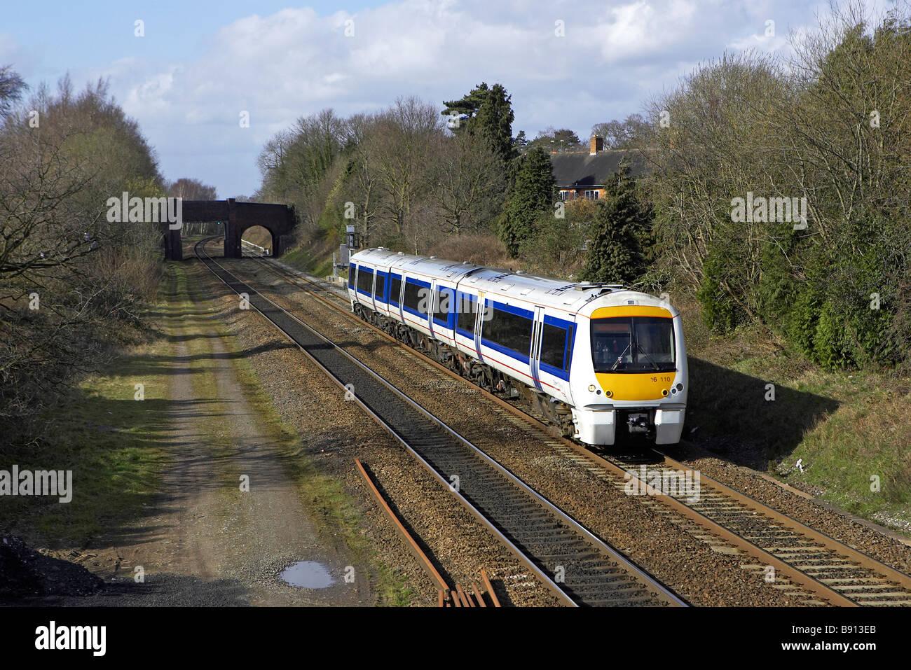 Chiltern Trains 168 110 passes through Bentley Heath Dorridge with 11:11 Birmingham Snow Hill London Marylebone - Stock Image