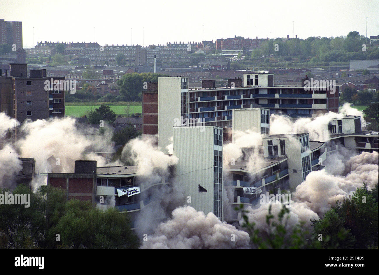 High rise flats demolished in Salford Greater Manchester England Uk 14 10 90 - Stock Image