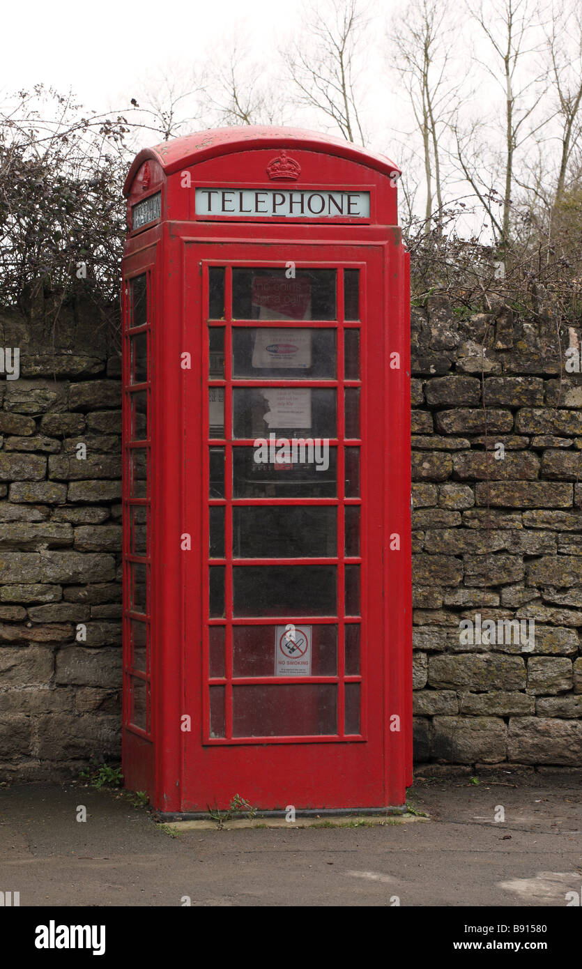 Red Telephone box in Lacock village, Wiltshire - Stock Image