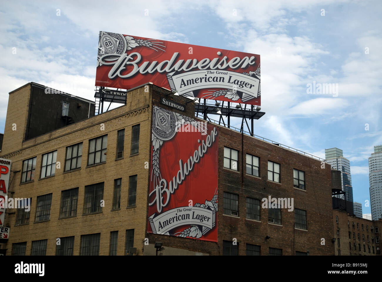 Billboards advertising Budweiser beer by the brewer Anheuser Busch in New York on Sunday March 8 2009 Richard B - Stock Image