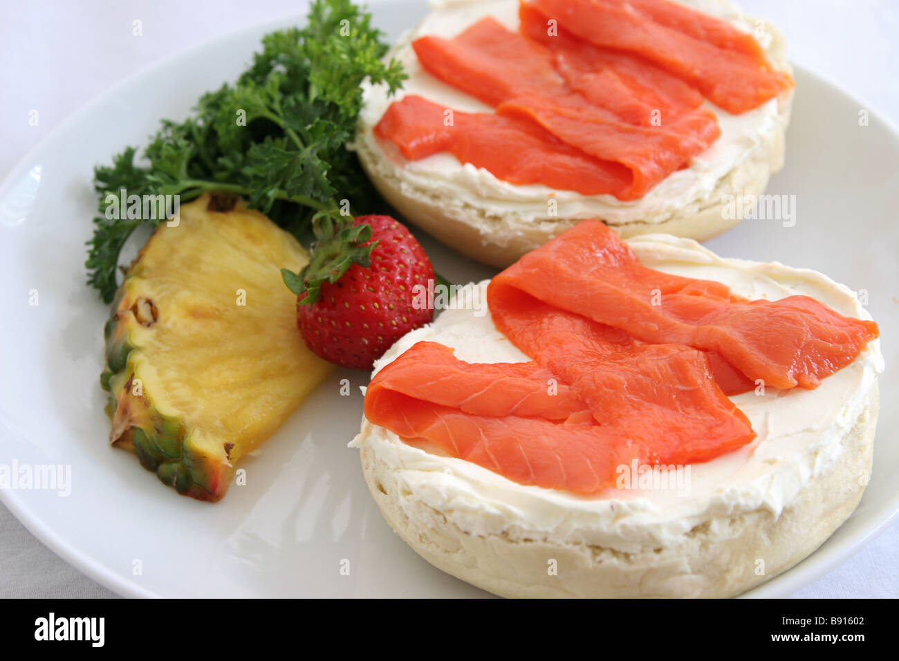 A closeup view of a bagel with cream cheese and lox Stock Photo