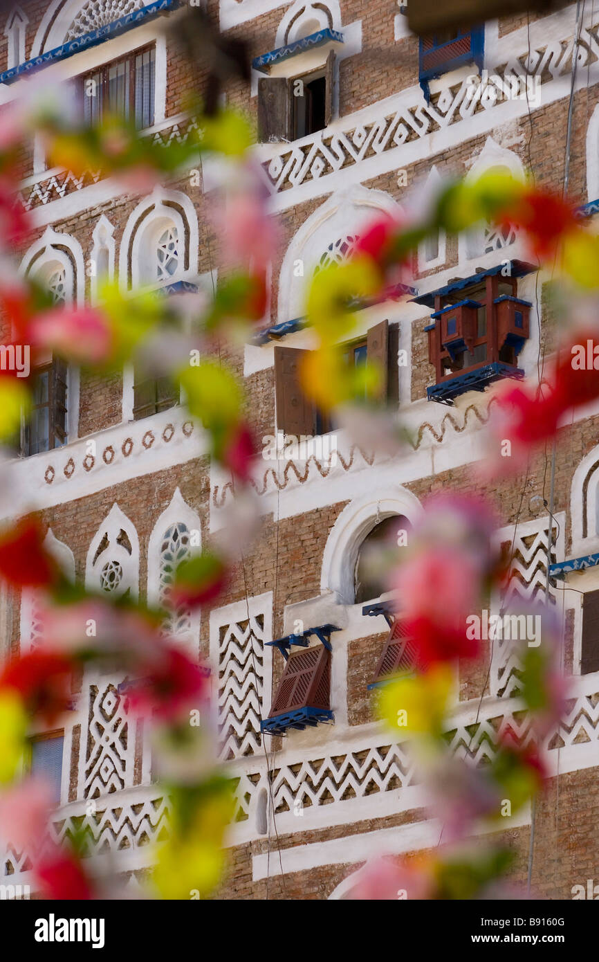 Frontage of buildings & floral decorations San'a,Yemen - Stock Image