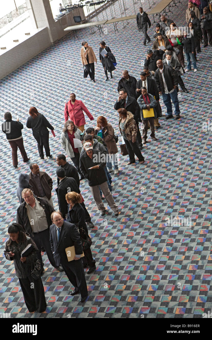 Unemployed People Look for Work at Job Fair - Stock Image