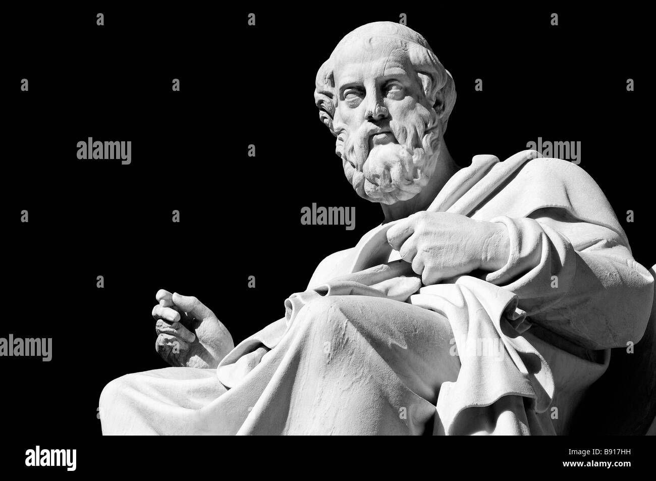 Marble statue of  the ancient greek philosopher Plato in front of Academia- Athens, Greece - Stock Image