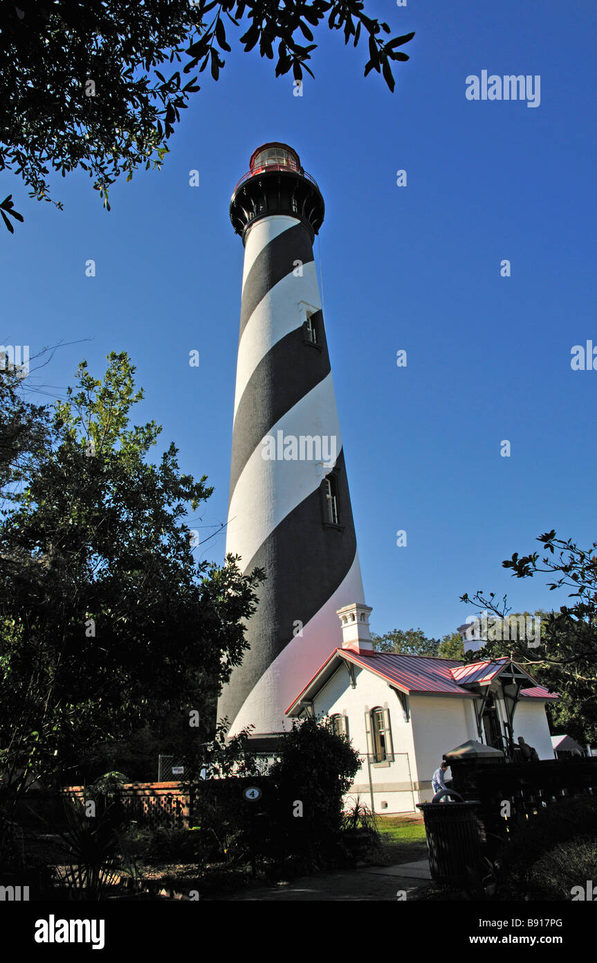 St Augustine lighthouse and the fuel storage house in front - Stock Image