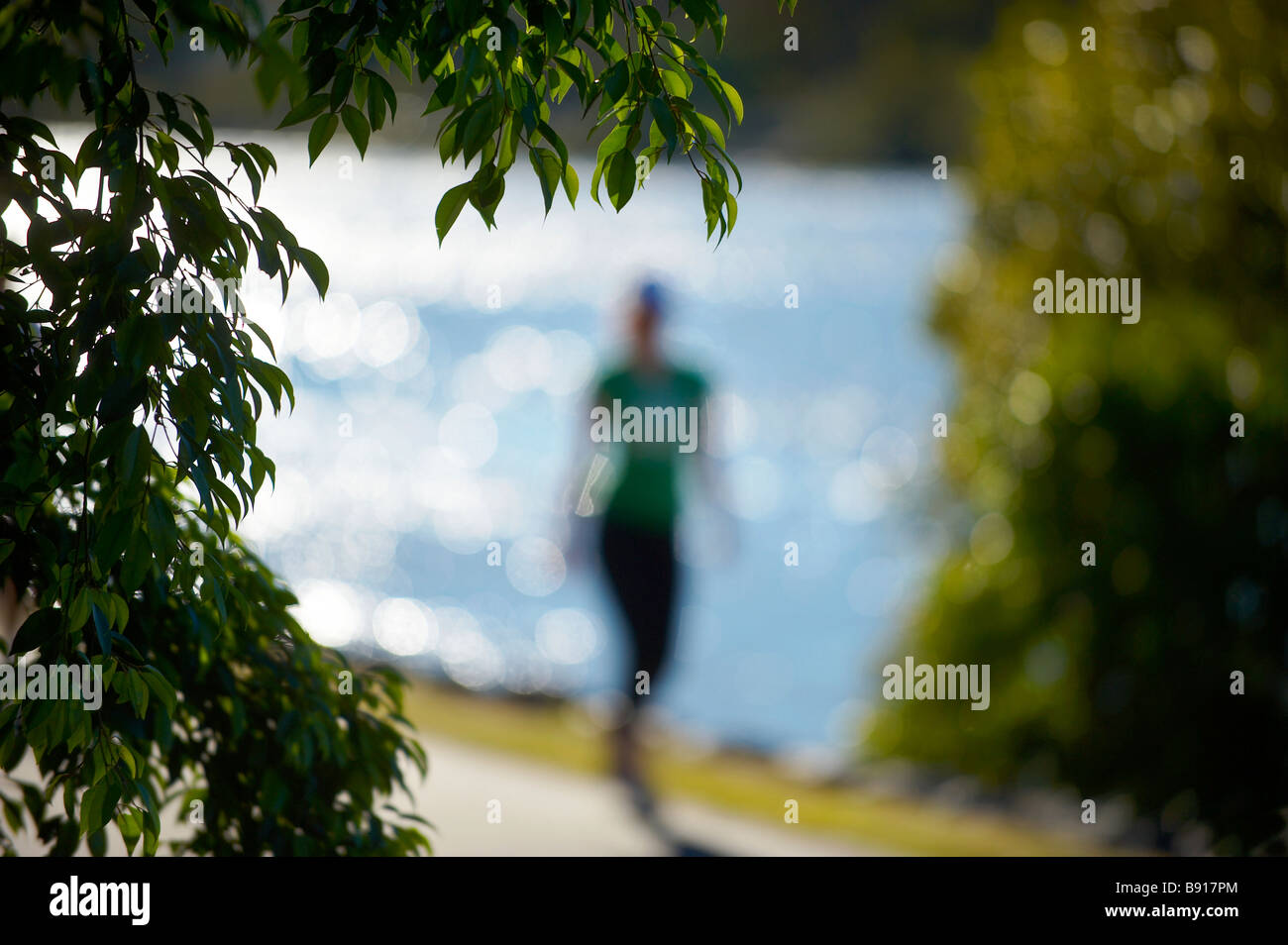 Woman jogging beside Brisbane River - Stock Image