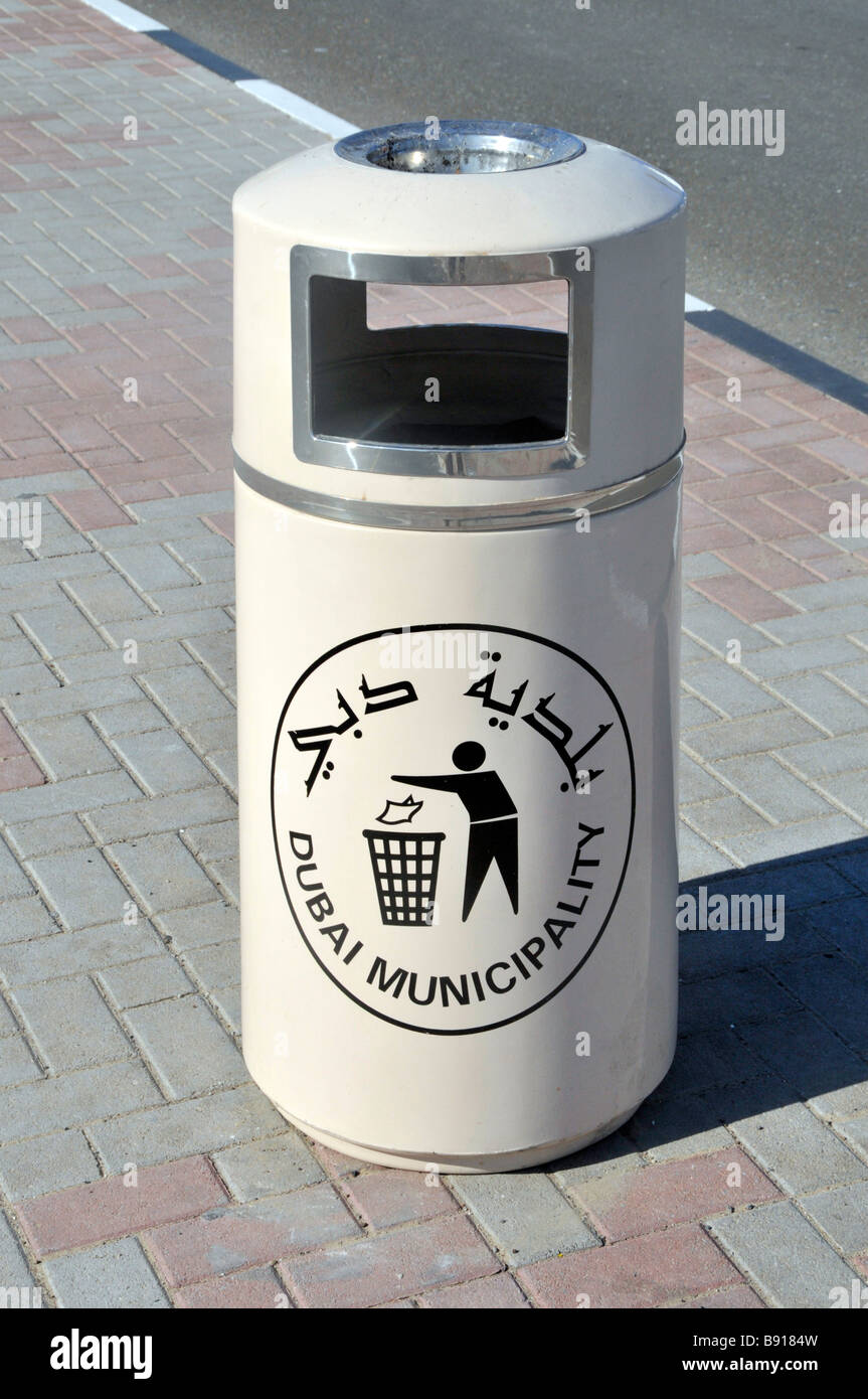 Litter bin with bilingual sign provided by Dubai