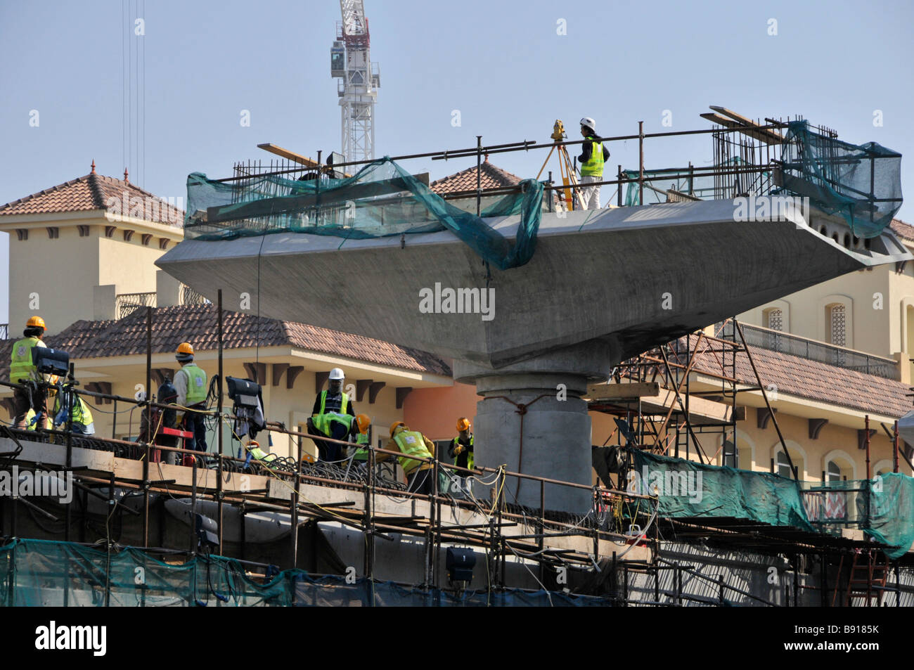 Dubai Metro construction of overhead bridges and viaducts - Stock Image