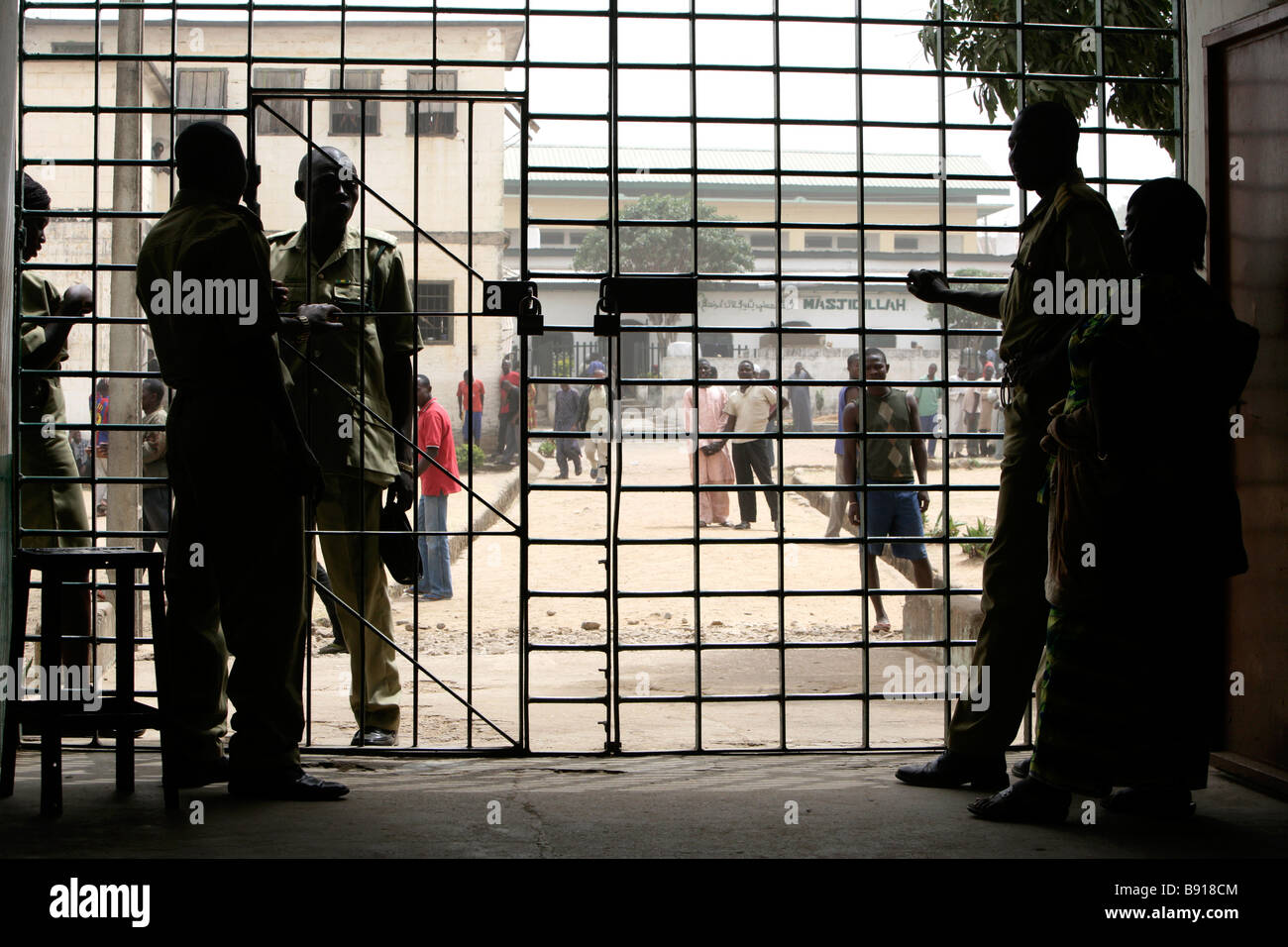 Nigeria: prisonners behind bars in the prison of Jos - Stock Image