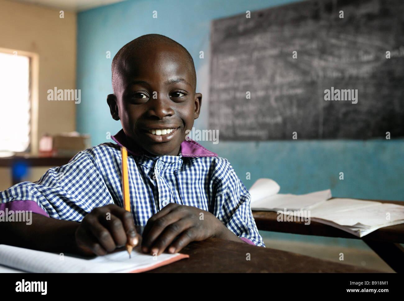 Nigeria: boy in a secondary school in Shuwa - Stock Image