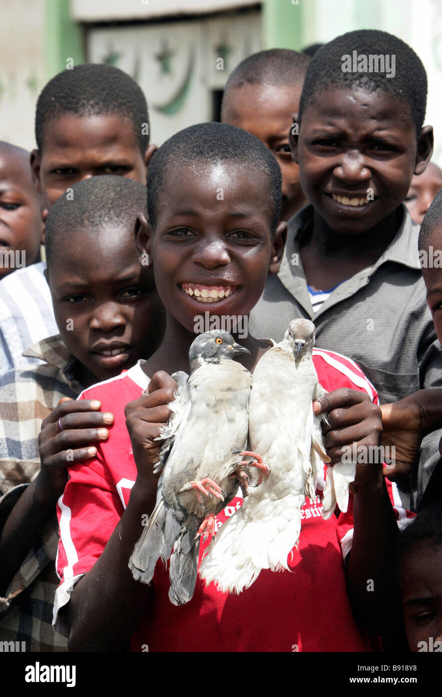 Nigeria: boy with two white pigeons - Stock Image