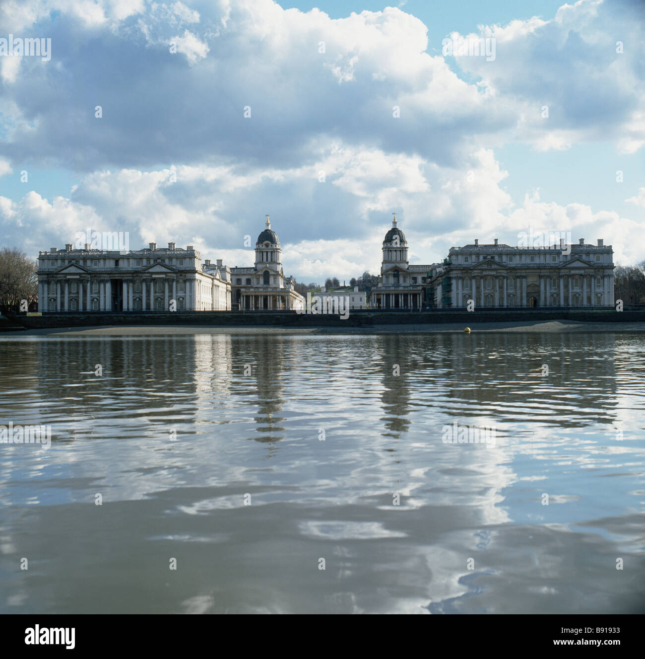 Greenwich Hospital on river Thames London Stock Photo