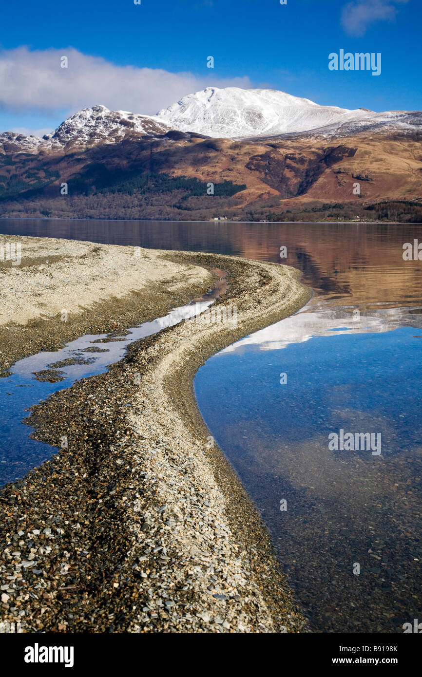 Loch Lomond and a snow capped Ben Lomond on a winters day, Scotland. - Stock Image
