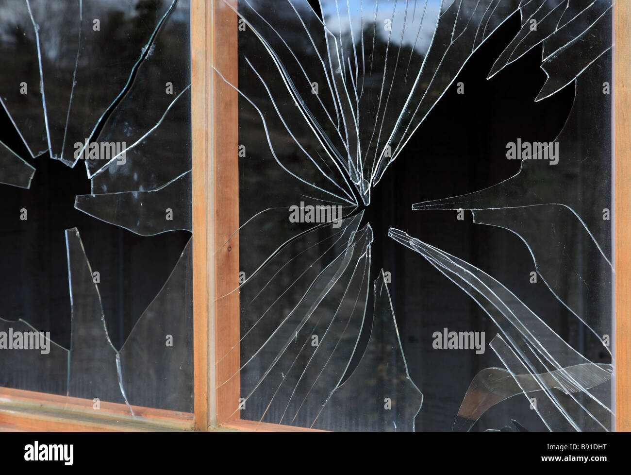 Smashed windows. - Stock Image