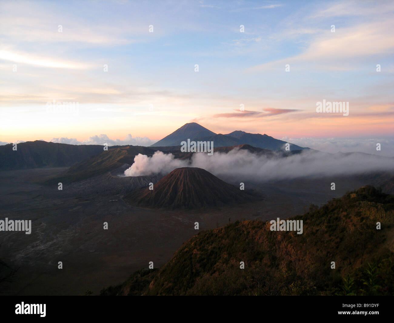 Sunrise over Mt Bromo, Java, Indonesia - Stock Image