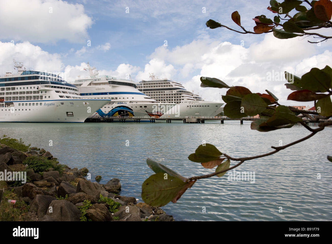 Cruise ships in harbour at St John s the main town - Stock Image