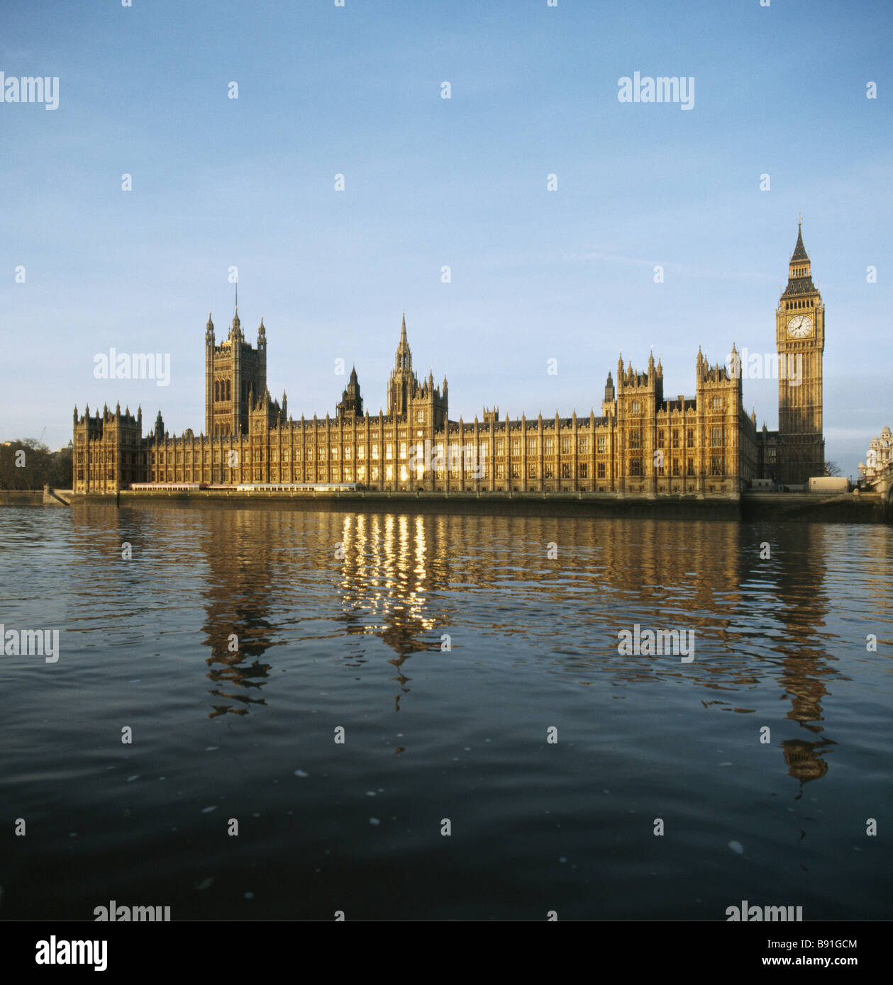 Palace of Westminster, London, from the river Thames. 1836-1847 by Sir Charles Barry and Augustus Welby Pugin. - Stock Image