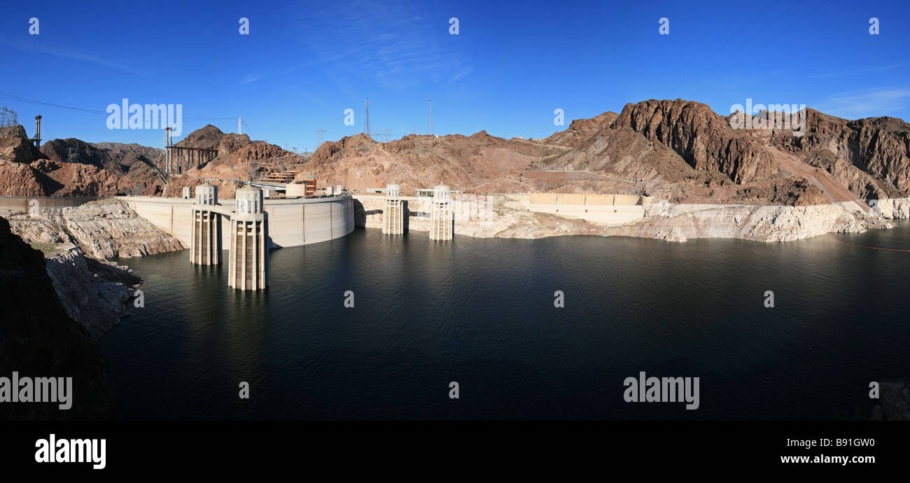 panorama of Hoover Dam and Lake Mead showing the low water level and bridge construction of early 2009 Stock Photo