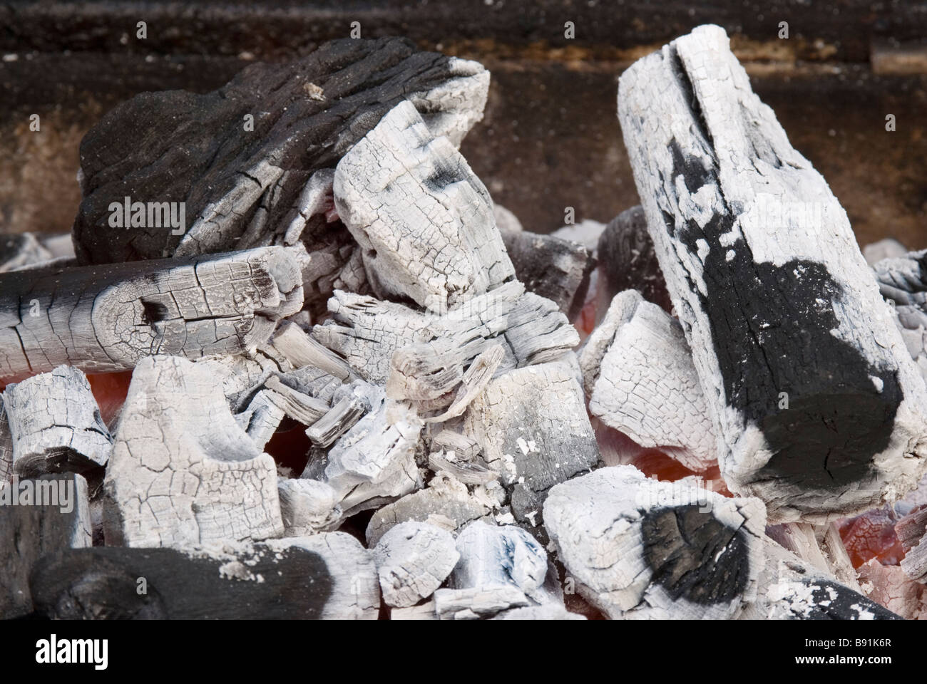 Wood coal burned on barbecue - Stock Image