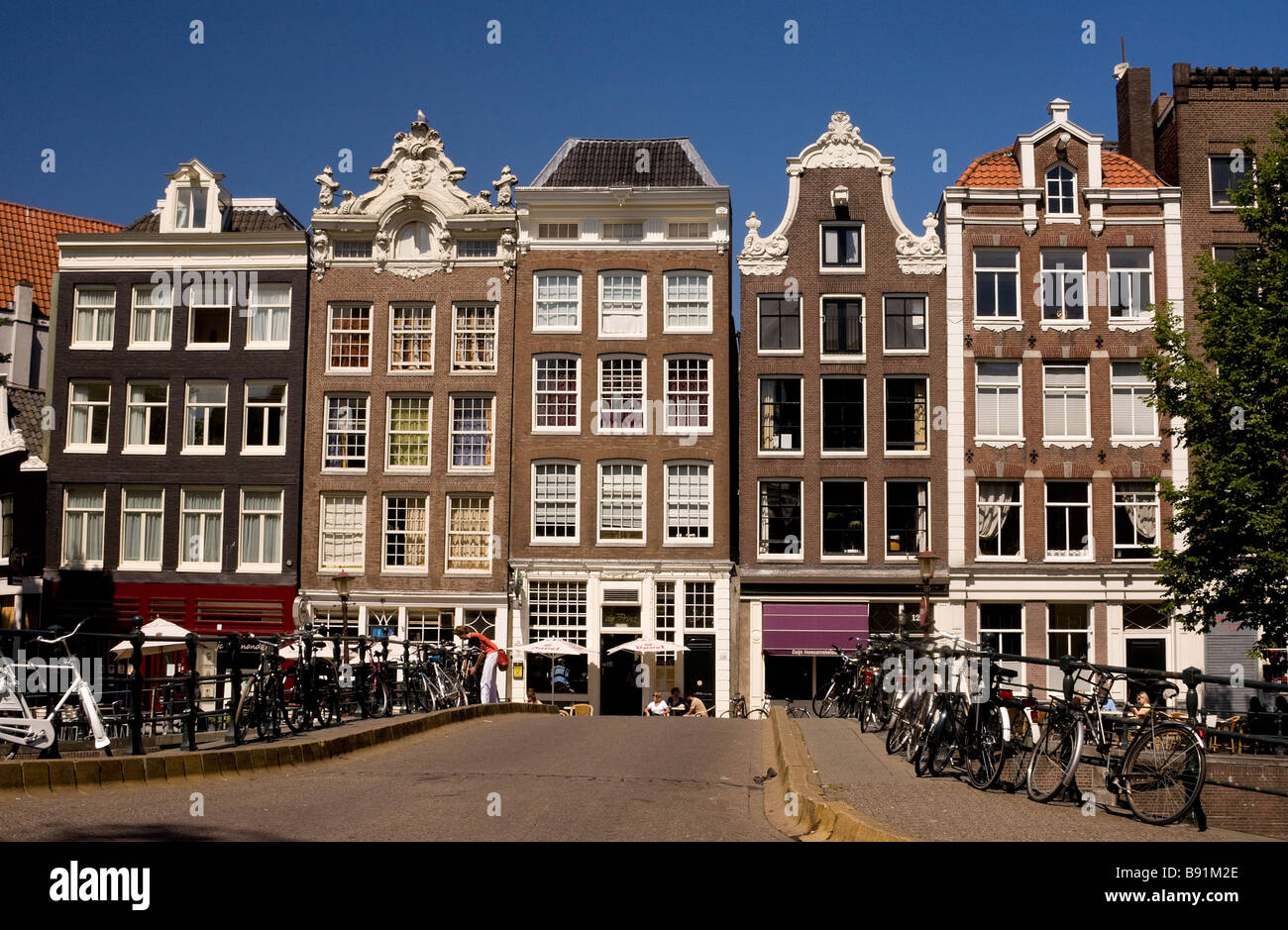 typical houses lining the prinsengracht - Stock Image
