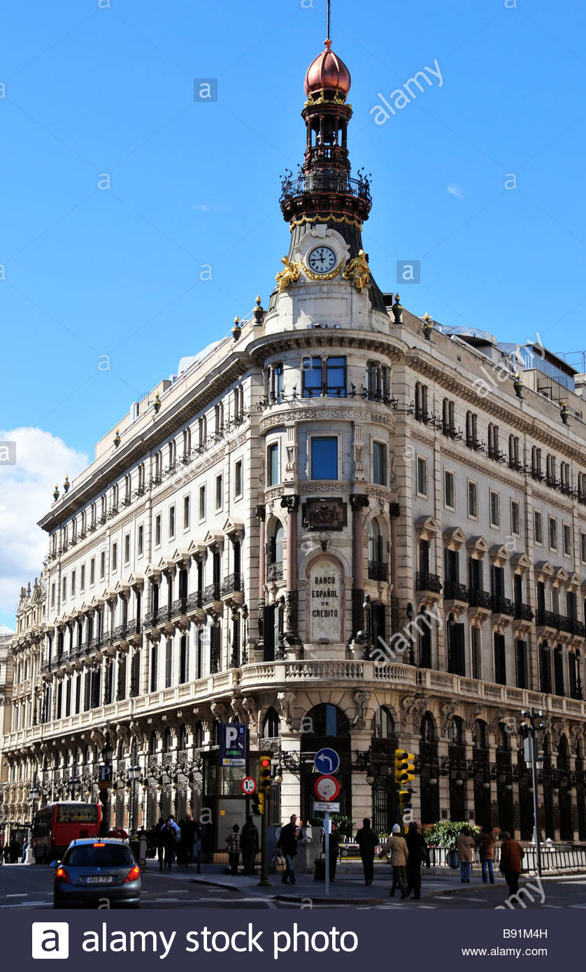 The old headquarters of the Banco Español de Credito (Banesto) in Madrid - Stock Image