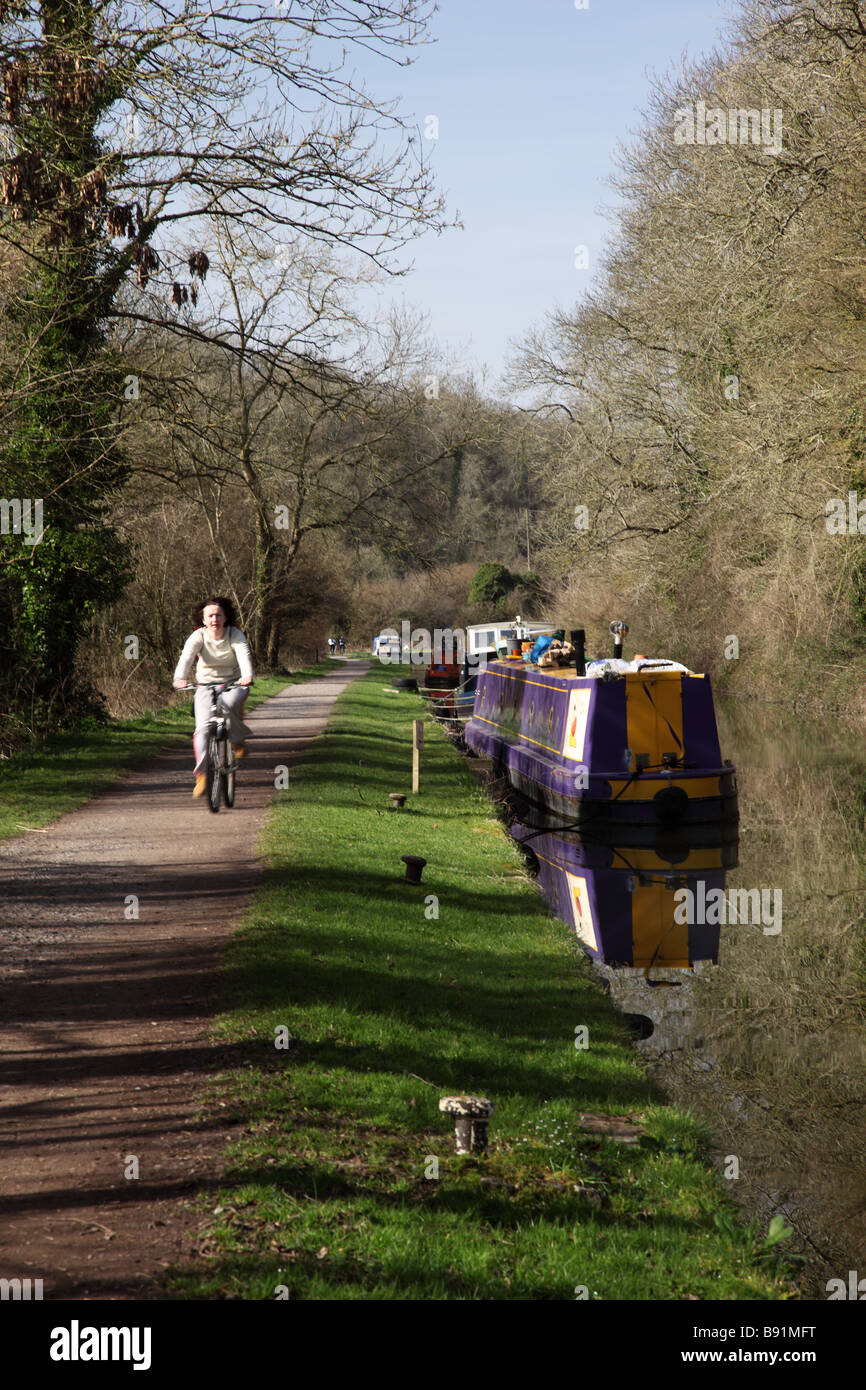 Cycling along the Kennet & Avon canal towpath at Avoncliff, Near Bradford on Avon, Wiltshire - Stock Image