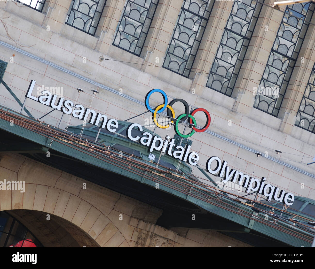 View of the Oympic game rings on the in the city of Lausanne, Switzerland - Stock Image