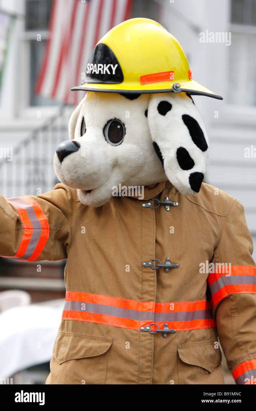 Sparky Fire Dog Parade Fireman Mascot Dalmation