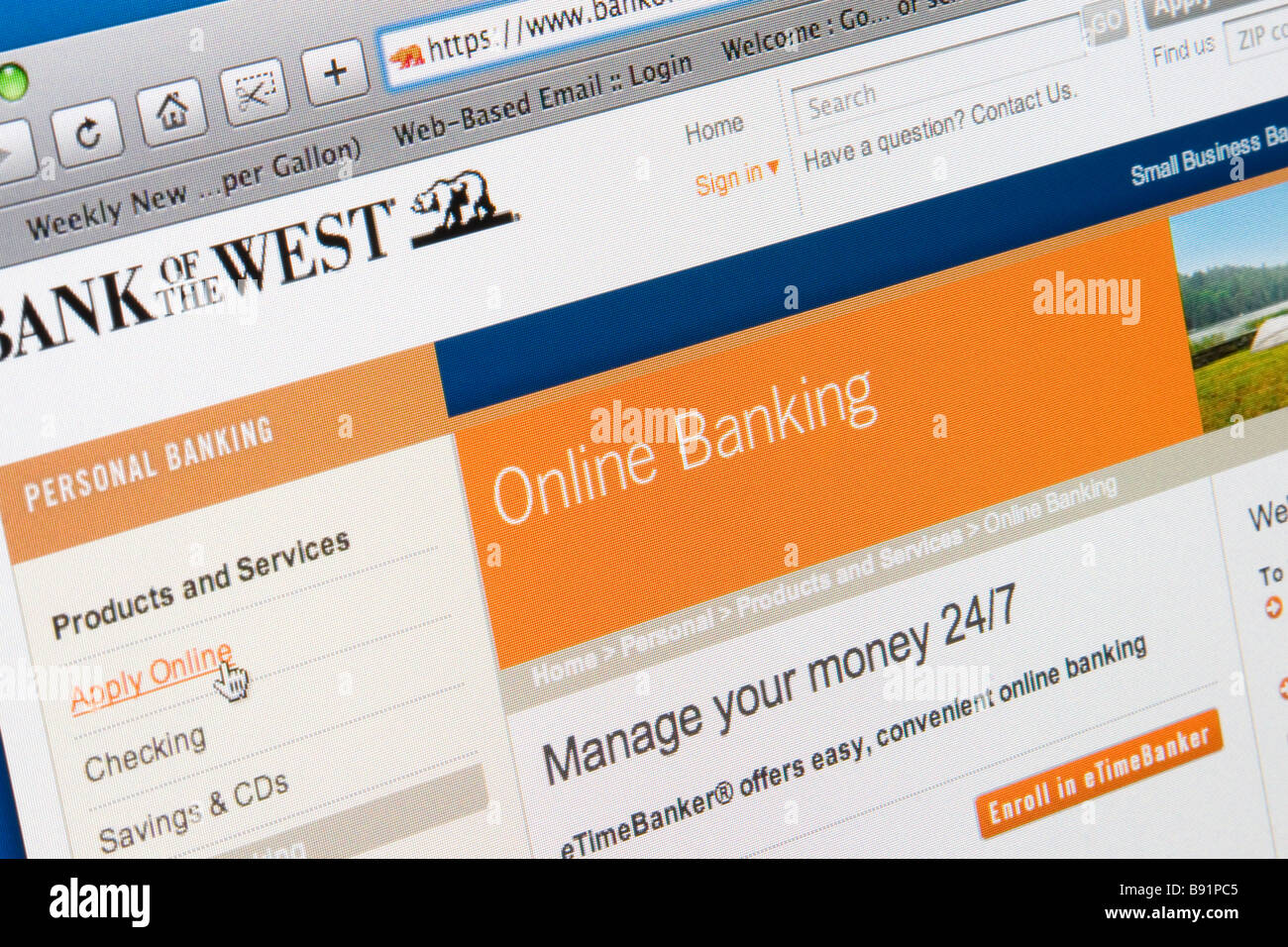 An online banking website. - Stock Image