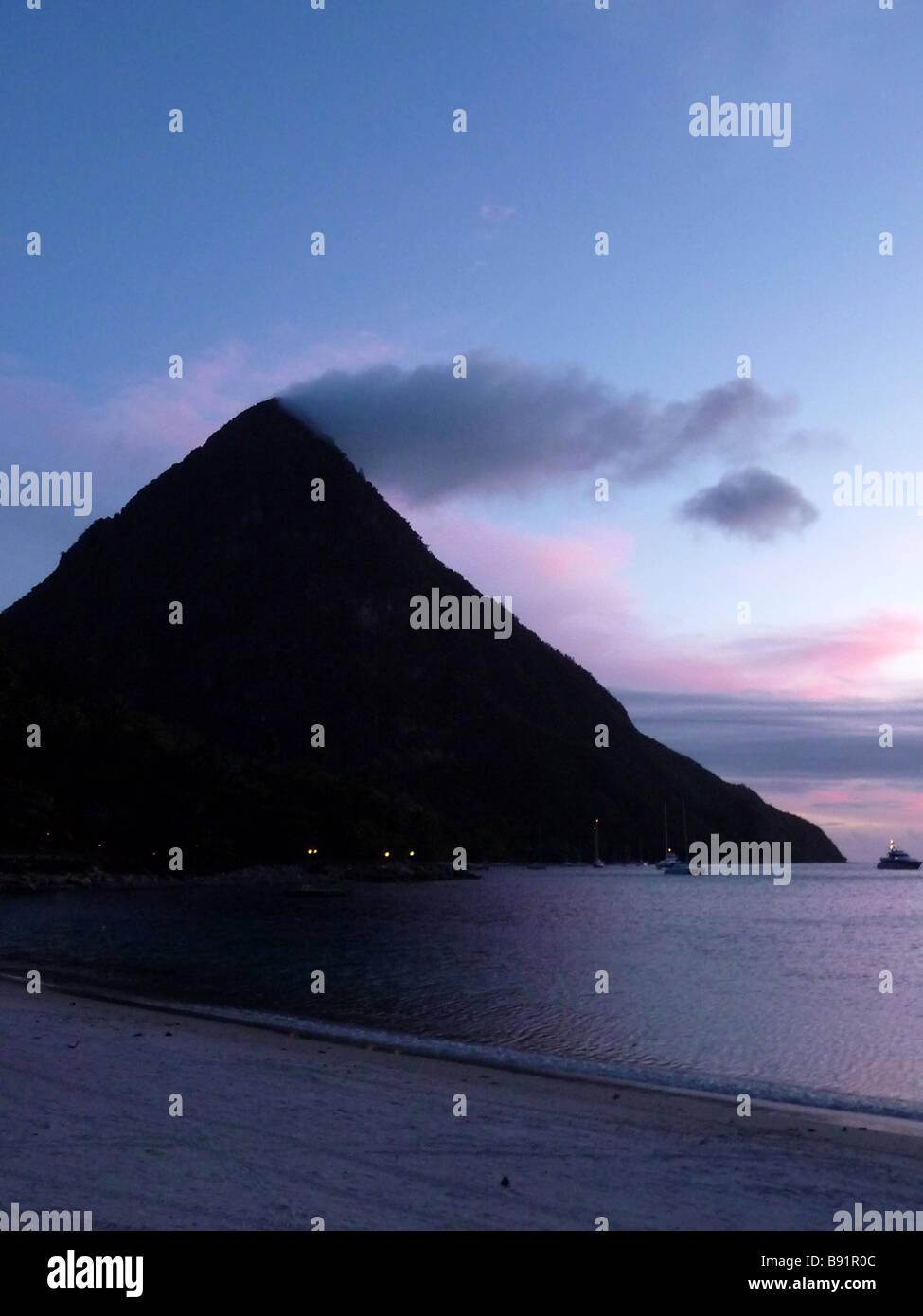 Gros Piton Sunset - Stock Image